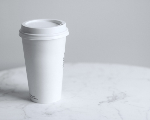 White disposable coffee cup