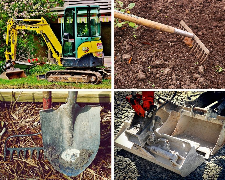 Images of hand tools and mini excavators